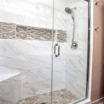Enlarged shower with corner bench