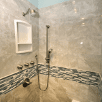 Enlarged shower with niche and feature strip