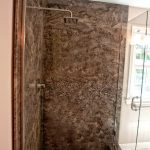 Chocolate-brown granite shower walls