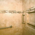 "2-part recessed shelf, 4"" mosaic tile feature strip and grab bars"