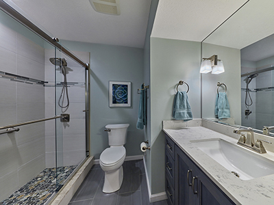 In this master bath we converted the tub into a shower.