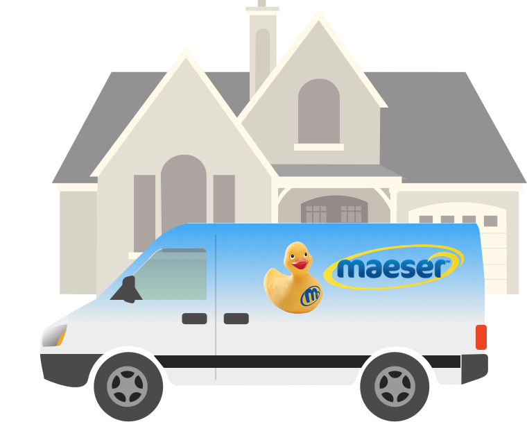 Maeser truck in front of house